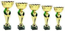 5er Serie Pokale inkl.Gravuren und Emblemen Gold-Grün