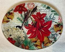 Michel Design Works Glass Oval Soap Dish/Trinket Dish Floral Poinsettia Holiday