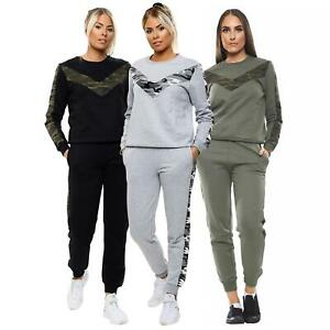 Womens Ladies Tracksuit Camouflage Stripe Print Top Lounge Legging 2Pc Set New