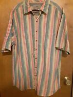 The Territory Ahead S/S Shirt XLT Tall S/S Orange Green Blue Stripe 100% Cotton