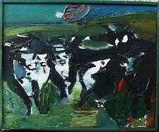 """Fredrik Rohde 1925-2015, """"Paysage avec Vaches II"""", Acrylique, daté 1974"""