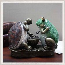 Art Deco Rana & Tortoise jugando ajedrez Tiffany Mesa Lámpara de pantalla de vidrio