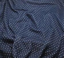"""Navy Blue & White POLKA DOTS Stretch Cotton Knit Fabric -by the yard- 60""""wide"""