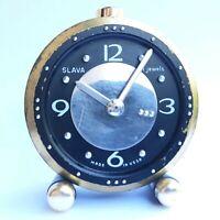 Vintage clock alarm SLAVA for blind people mechanical Soviet Rare 11 jewels USSR