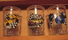 VINTAGE NASCAR DOUBLE SHOT,JUICE JELLY JAR GLASSES, 3 different cars/drivers