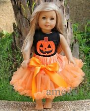 "18"" American Girl Doll Pumpkin Orange Pettiskirt Halloween Outfit Party Dress"