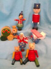 Lot of Vintage Wooden Toys-Bears, Doll, Clown & More
