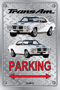 Parking Sign Metal - Checkerplate Look - TRANS AM 1969 WHITE