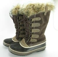Sorel Womens Winter Waterproof Duck Boots 10 Brown Calf High Faux Fur Lace Up