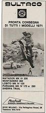 Pubblicità 1971 MOTO BULTACO MATADOR MILANO MOTOR advertising werbung publicitè