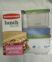 Rubbermaid Lunch Blox Salad Kit and Sandwich Kit with blue ice packs