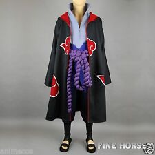 NARUTO Sasuke Uchiha Cosplay Costume+Shoes+Cloak Full Set