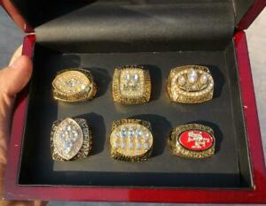 6pcs San Francisco 49ers Football Team ring Set With Wooden Box Fan Gift