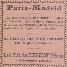 Y5822 Motocyclette PEUGEOT - Paris-Madrid - Pubblicità d'epoca - 1903 Old advert