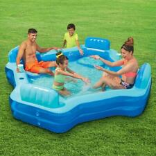 Deluxe Inflatable Comfort Family Pool Cushioned seats & backrest from Play Day