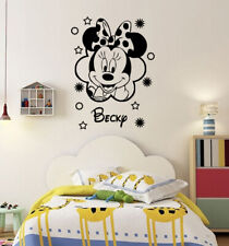 Personalised Disney Wall Stickers Minnie Mouse with Name Stars Vinyl Decals PD3