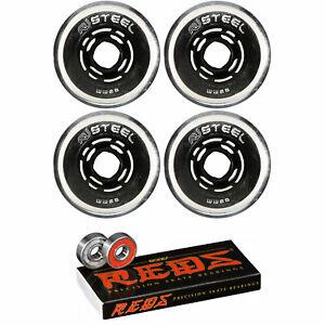 Revision Wheels Inline Roller Hockey Variant Steel 80A + Bones Bearings (4-Pack)
