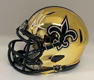 Alvin Kamara & Mark Ingram Signed Saints CHROME Mini Helmet BAS WITNESSED COA