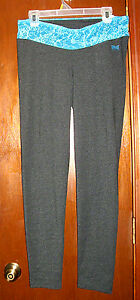 NWT Everlast Sport Gray with Blue Print Waist Burn Out Leggings-L*