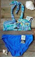 Island Escape bikini size 10 blue green geometric swimsuit 2 piece set new