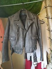Ralph Lauren Leather Jacket XS Buckles and zips Distressed Real Leather