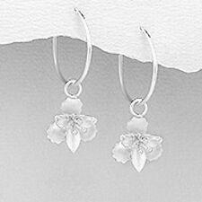 """1.3"""" Solid Sterling Silver Orchid Flower Endless Hoop Earrings 2.2g Feminine"""