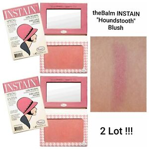 NEW theBalm Instain Long Wearing Staining Powder Blush in Houndstooth - 2 Lot !!