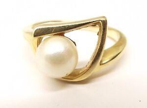 Vtg 14K Yellow Gold Cultured Pearl Ring Sz 3.5 6.3mm Estate Geometric Modern