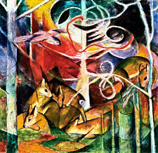 Deer in the Forest I by Franz Marc A1+ High Quality Canvas Print