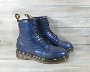 Vintage Dr Martens 1460 Women's 8 Holes Boots Metallic Blue Made In England