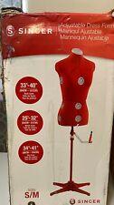 Singer 12 Dial Seamstress Adjustable Dress Form Mannequin Red s/m