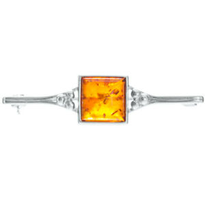 925 Sterling Silver Genuine Baltic Amber Brooch Free Gift Bag