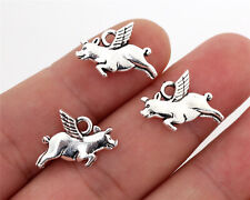 Flying Pig Charms   Antique Silver Plated   19x13mm   20pcs