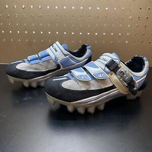 PEARL IZUMI Women's Cycling Shoe Mtn Bike Blue White -37.5/6.5- 2 Bolt-Free Ship