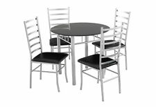 Lincoln Dining Set 4 Seater - Black Glass Dining Table & 4 Chairs - Padded Seats