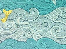 RPG492D Sea Moby Dick Whale Fish Ocean Wave Mermaid Tail Cotton Quilt Fabric