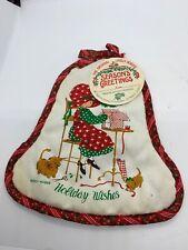 Vintage Holly Hobbie Christmas Pot Holder Holiday Wishes Original Tag