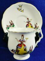 Antique/Vtg WHIMSICAL LADY BIRDS Gold Trim England Bone China Tea Cup & Saucer