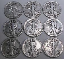 (9) 1941 P Liberty Walking Silver Half Dollars - Worn but good condition
