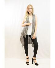 Lady sleeveless wool fine knit long cardigan black brown grey