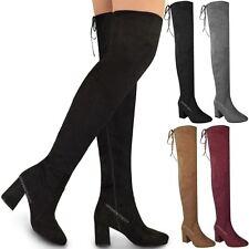 Damen Overknee-Stiefel mit Stretch - sehr hoher Schaft & mittelhoher Blockabsatz