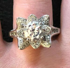 Sterling Silver Ring CZ 3 ROSE Flower 2 Carat Rhodium Plt Sz 11 7g FZN 925 #1035
