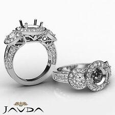 3 Stone Diamond Engagement 1.3 Ct 14k White Gold Round Semi Mount Pre-Set Ring