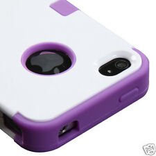 APPLE iPHONE 4 4S MULTI LAYER TUFF HYBRID CASE ACCESSORY WHITE/PURPLE