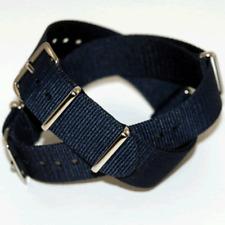 Navy Blue Nato / Nylon Watch Strap: 18mm, 19mm, 20mm, 21mm, 22mm or 24mm (FL49)