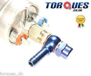 Bosch 044 External Fuel Pump +Barbed Adapters; 15mm Input / 8mm Output Banjo/Cap