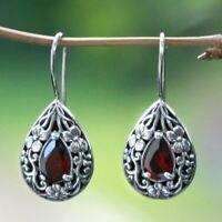 Women Vintage 925 Silver Ruby Carved Earrings Hook Dangle Wedding Party Jewelry