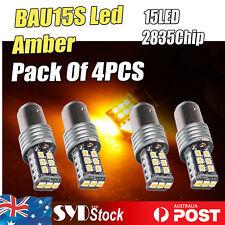 Amber 4pcs BAU15S 15LED 2835 Car Ute Indicator Brake Stop Turn Signal Bulb Light