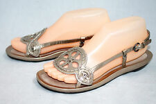 COLE HAAN D21355 Wo's 7.5B Gold Strappy Leather Slingback Sandals