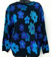 Vtg Uno & Una Womens Sweater Retro Floral Sequin Black Blue Purple Acrylic Large